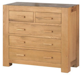 Mews Solid Oak 2 over 3 chest of drawers