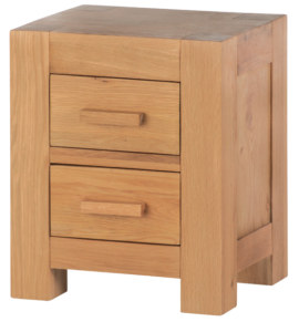 Mews Solid Oak 2 Drawer Bedside Cabinet