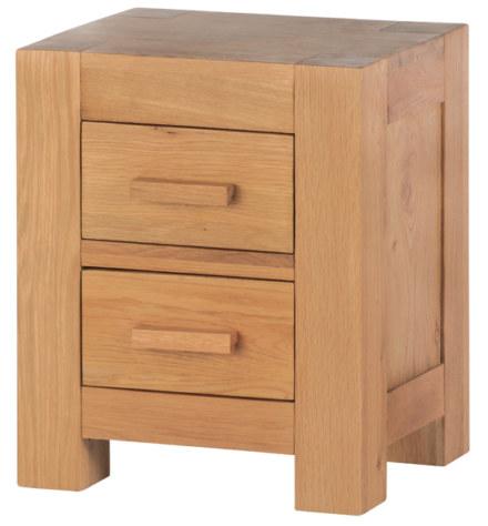Mews Solid Oak 2 Drawer Bedside Cabinet