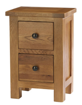 Dublin Solid Oak Solid Oak 2 Drawer Bedside