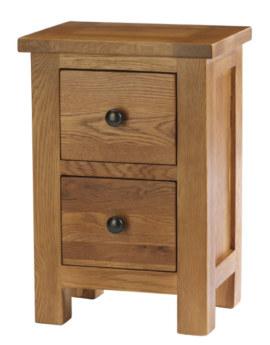 Dublin Solid Oak Solid Oak 2 Drawer Bedside