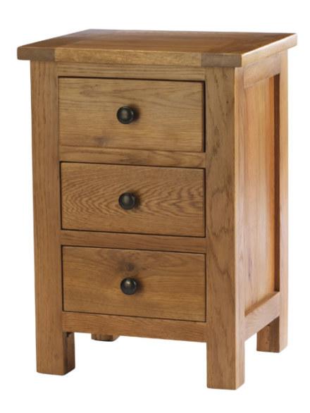 Dublin Solid Oak Solid Oak 3 Drawer Bedside