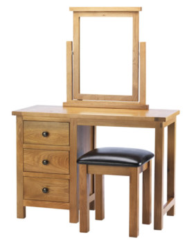 Dublin Solid Oak Solid Oak Dressing Table + stool