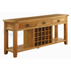 Vancouver Premium Solid Oak 3 Drawer Console/Wine Table