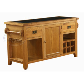 Vancouver Premium Solid Oak Granite Top Kitchen Island Unit
