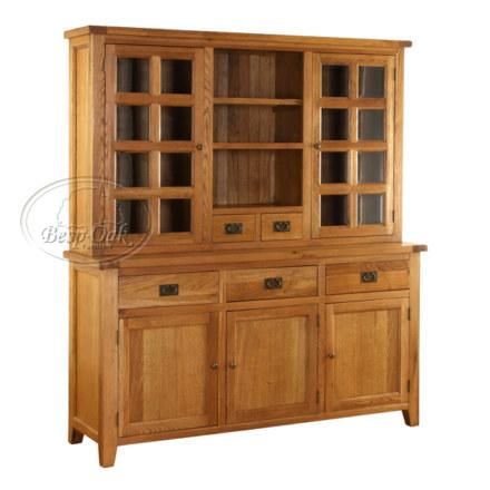 Vancouver Premium Solid Oak 3 Drawer 3 Door Buffet & Hutch