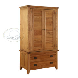 Vancouver Premium Solid Oak 2 Part Wardrobe with 2 drawer