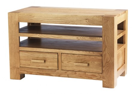 Mews Solid Oak TV Unit with DVD Drawers
