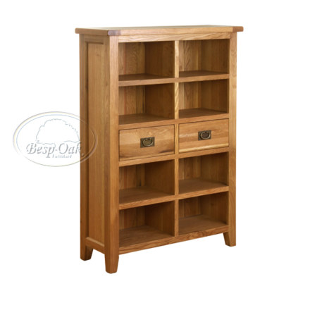 Vancouver Petite Solid Oak  Drawer Wide Book Case