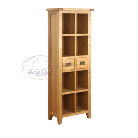 Vancouver Petite Solid Oak 2 Drawer Book Case