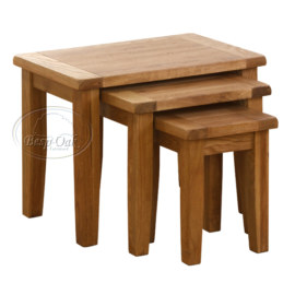 Vancouver Petite Solid Oak Set of 3 Nest of Tables