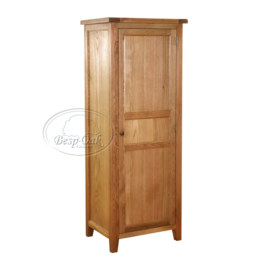 Vancouver Petite Solid Oak 1 Drawer 1 Shelf Single Hanging Wardrobe