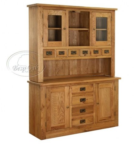 Vancouver Petite Solid Oak Large Hutch and Buffet
