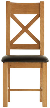 Chunky Oak Cross Back PU Seat Chair