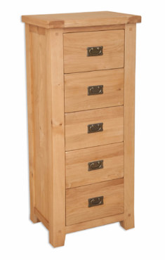 Melbourne Natural 5 Drawer Tallboy