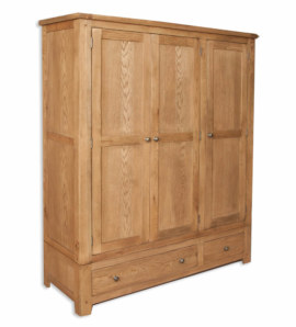 Melbourne Country Solid Oak 3 Door Large Ladies Wardrobe