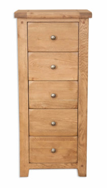 Melbourne Country Solid Oak 5 Drawer Tall Wellington Chest