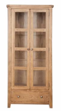 Melbourne Country Oak Glazed Display Cabinet