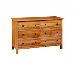 Paris Solid Oak 6 Drawer Wide Chest