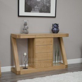 Z Oak Hall Table with Drawers