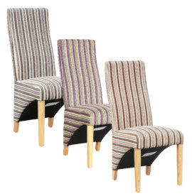 Barcelona Berry Striped Fabric Dining Chair