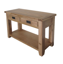 Barcelona Solid Oak 2 Drawer Hall Table