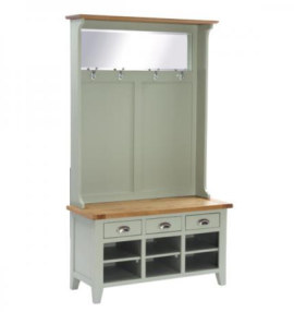 Vancouver French Grey 3 Drawer Hall Tidy Bench with Coat Rack Mirror & Shoe Storage