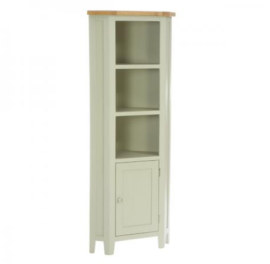 Vancouver French Grey Corner Display Unit with 1 Door & 2 Shelves