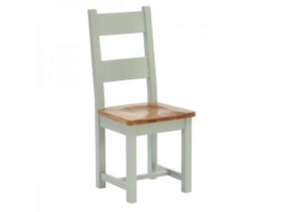 Vancouver French Grey Horizontal Slats Dining Chair with Timber Seat