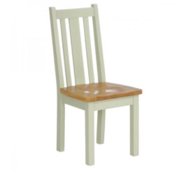 Vancouver French Grey Vertical Slats Dining Chair with Timber Seat