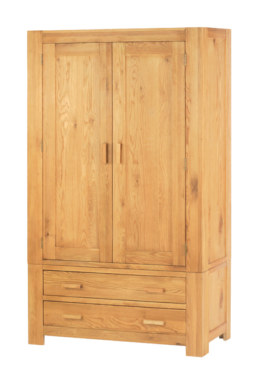 Mews Solid Oak Gents Double Wardrobe