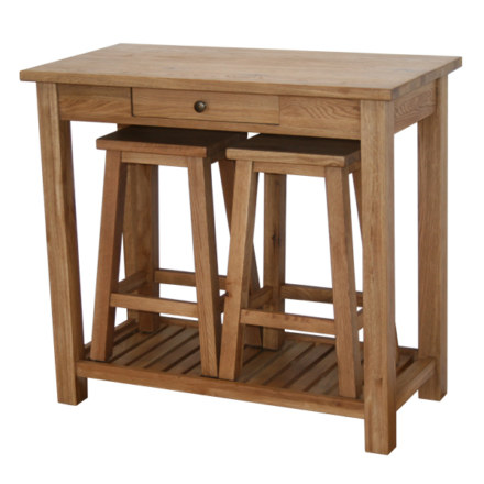 Vancouver Petite Solid Oak Console Table with Drawer and 2 Stools