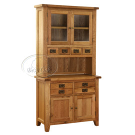 Vancouver Petite Solid Oak Hutch and Buffet