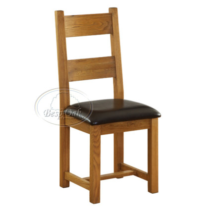 Vancouver Petite Solid Oak Dining Chair with Chocolate Leather Seat