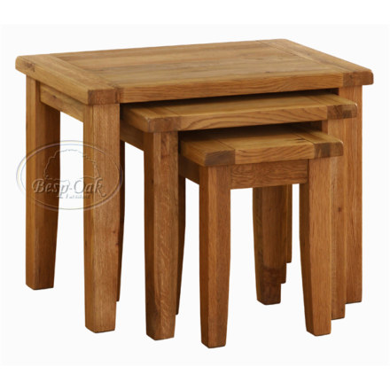 Vancouver Premium Solid Oak Set of 3 Nest of Tables