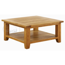 Vancouver Premium Solid Oak Square Coffee Table with Shelf