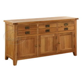 Vancouver Premium Solid Oak 3 Drawer 3 Door Buffet Only