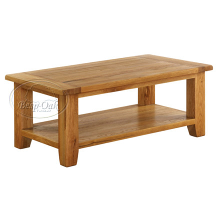 Vancouver Premium Solid Oak Rectangular Coffee Table with Shelf