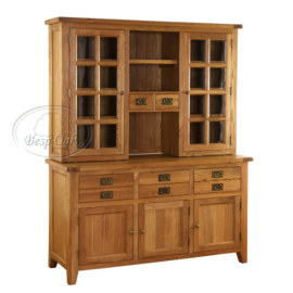 Vancouver Premium Solid Oak 3 Drawer 3 Door Buffet & Hutch with Termpered