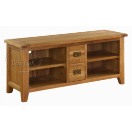 Vancouver Premium Solid Oak Large TV Unit with 4 Shelves & 1 Drawer