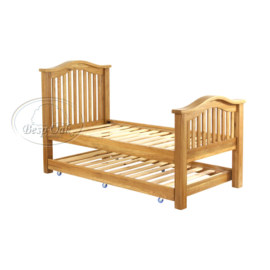 Vancouver Petite Solid Oak Slatted Single Pull Out Bed