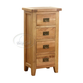 Vancouver Petite Solid Oak 4 Drawer Tall Chest