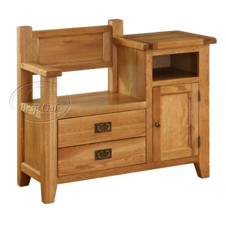 Vancouver Premium Solid Oak Telephone Bench 1 Door 1 Drawer