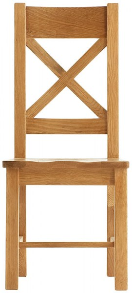 Chunky Oak Cross Back Wooden Seat Chair