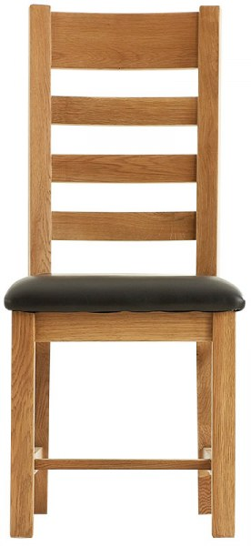 Chunky Oak Ladder Back Chair with PU seat
