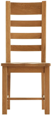 Chunky Oak Ladder Back  Wooden Seat Chair