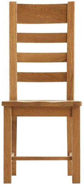 Chunky Oak Ladder Back  Wooden Seat Chair