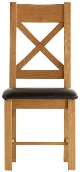 Chunky Oak Cross Back PU Seat Chair
