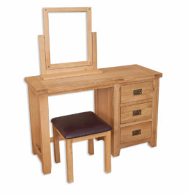 Melbourne Natural Dressing Table, Mirror and Stool