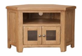 Melbourne Country Oak Living Corner Glazed TV Stand Cabinet